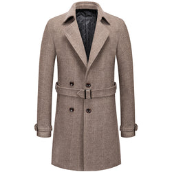 British Men's Belt Long Wool Trench Coat