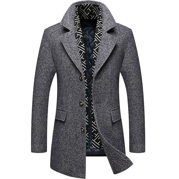 Men's Wool Thicken Trench Coat With Scarf