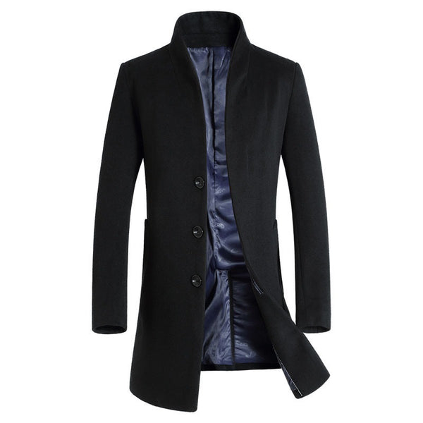 Men's Business Slim Wool Long Coat
