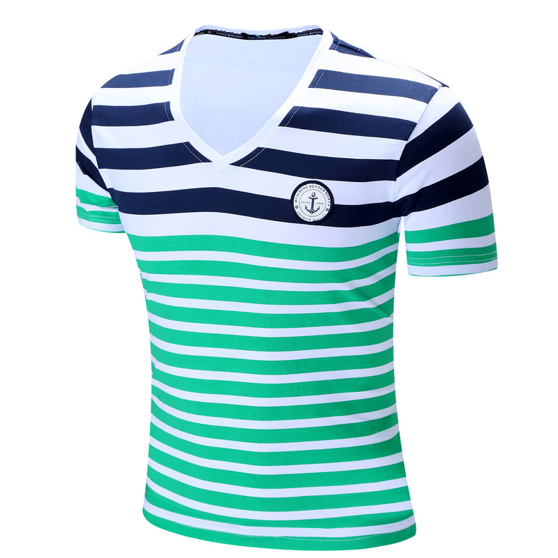 MEN'S 100% COTTON STRIPE PRINTED T-SHIRT #003