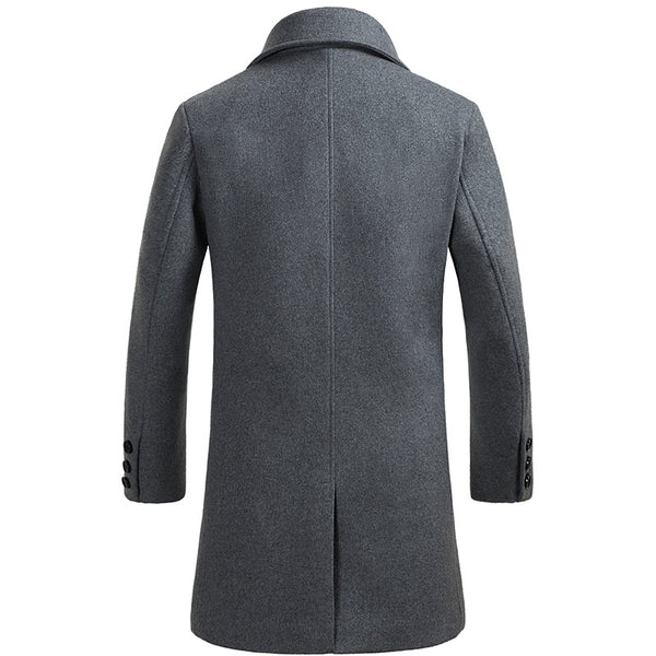 Men's Business Thicken Long Wool Trench Coat