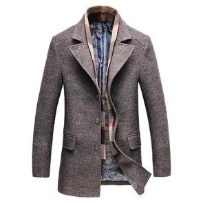 SHEEPMEN™ Men's Classic Single Breasted Slim Wool Coat