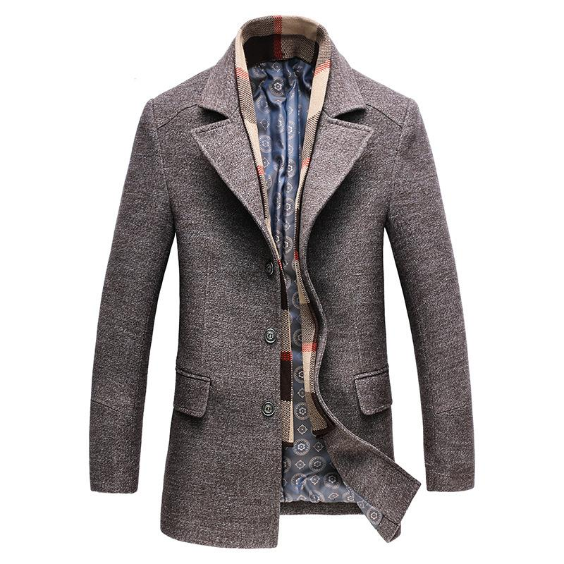 Classic Slim Wool Jacket With Scarf #003