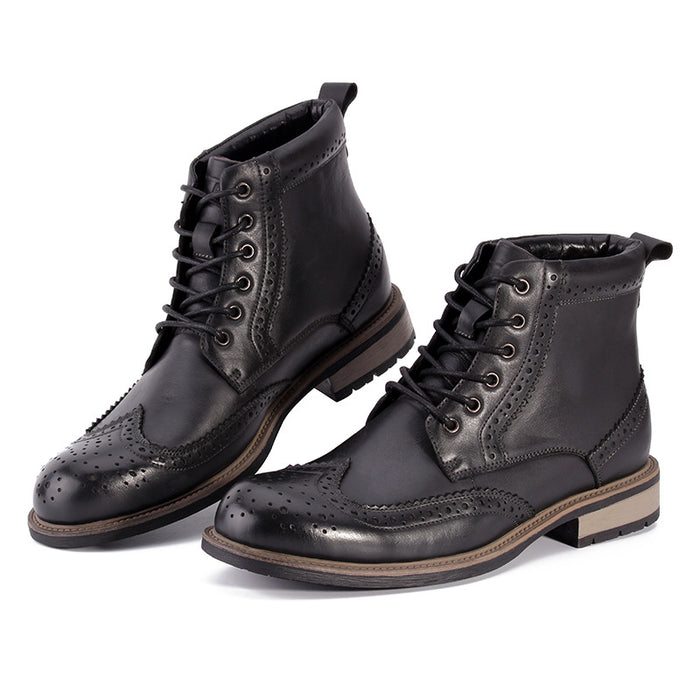 UniteMen Men's Brogue Leather Martin Boots