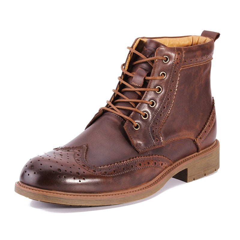 Men's Brogue Leather Martin Boots