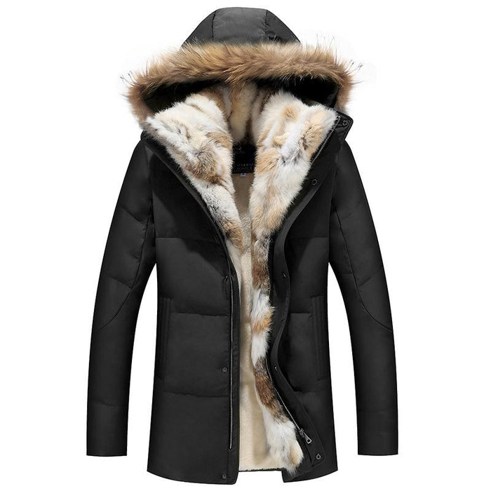 UniteMen Men's Thicken Fur Down Jacket
