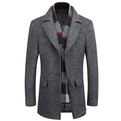 Classic Business Wool Pea Coat With Scarf