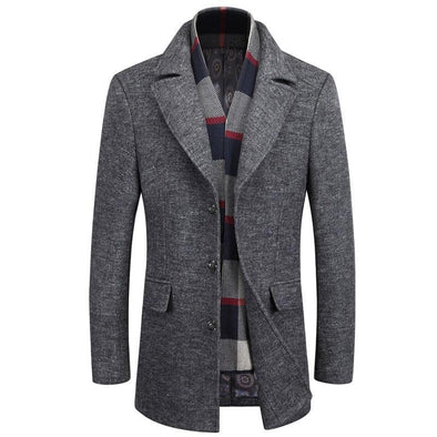 Men's Classic Detachable Scarf Wool Coat From SHEEPMEN