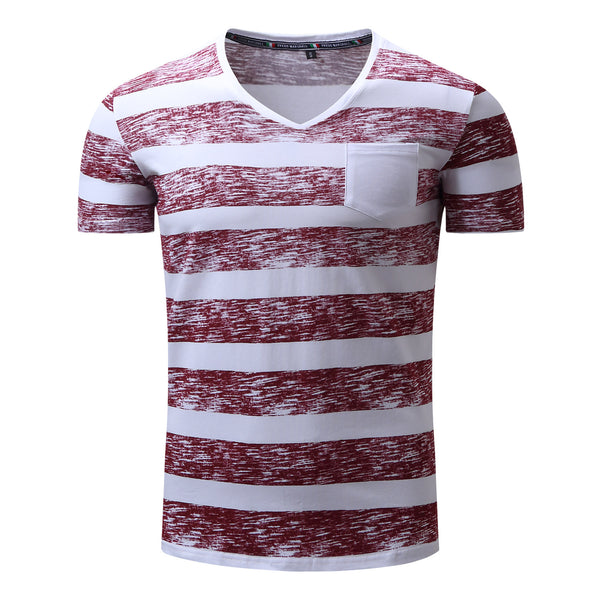 Men's 100% Cotton Stripe Printed T-shirt