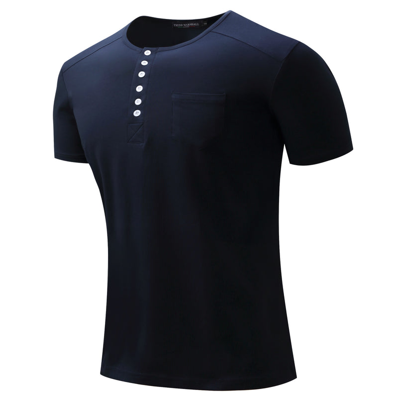 Men's  Buttons 100% Cotton T-shirt