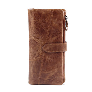 Men's Vintage Look Genuine Leather Long Bifold Wallet