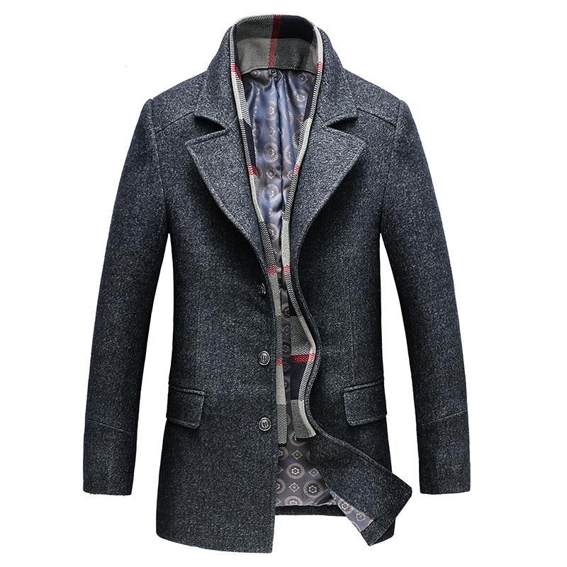 Men's Classic Fitted Wool Pea Coat With Scarf