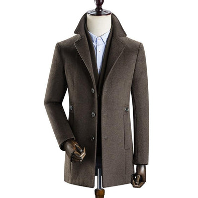 Men's Classic Single Breasted Slim Wool Coat,Created for SHEEPMEN