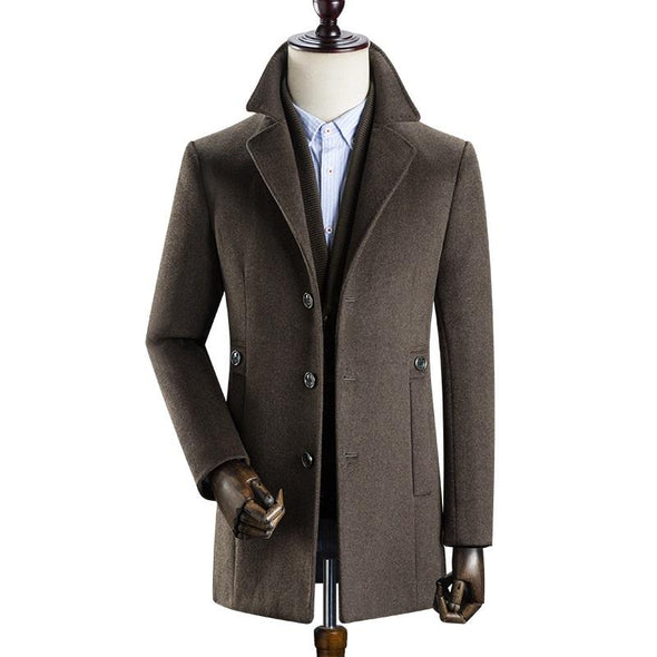 Men's Classic Single Breasted Slim Wool Coat#002