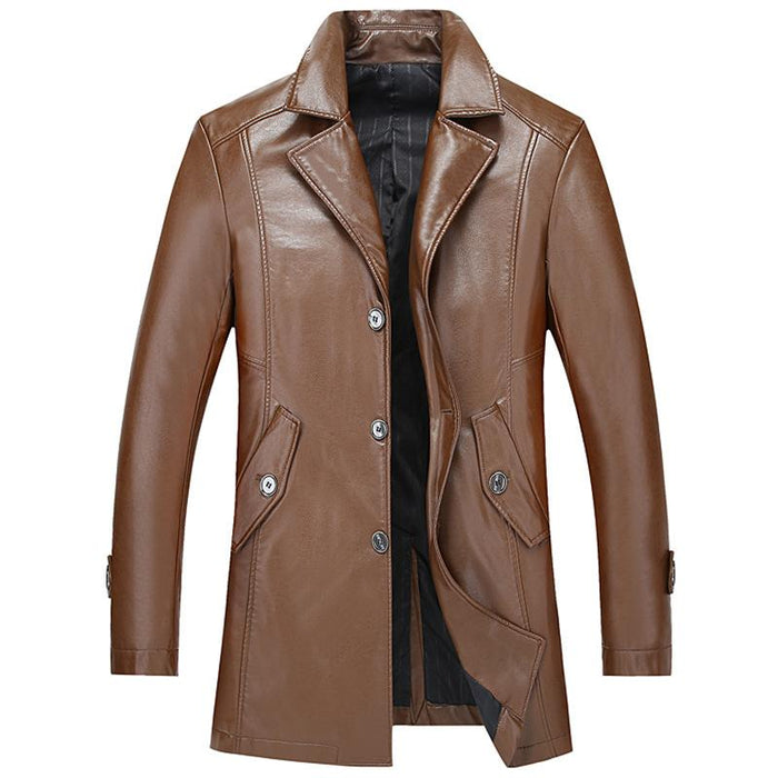 UniteMen Men's Spring Classic Long Style Leather Jacket