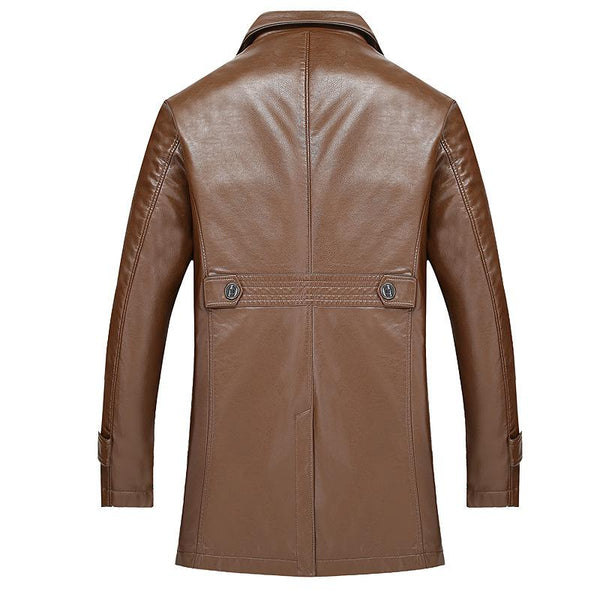 Men's Spring Classic Long Style Leather Jacket