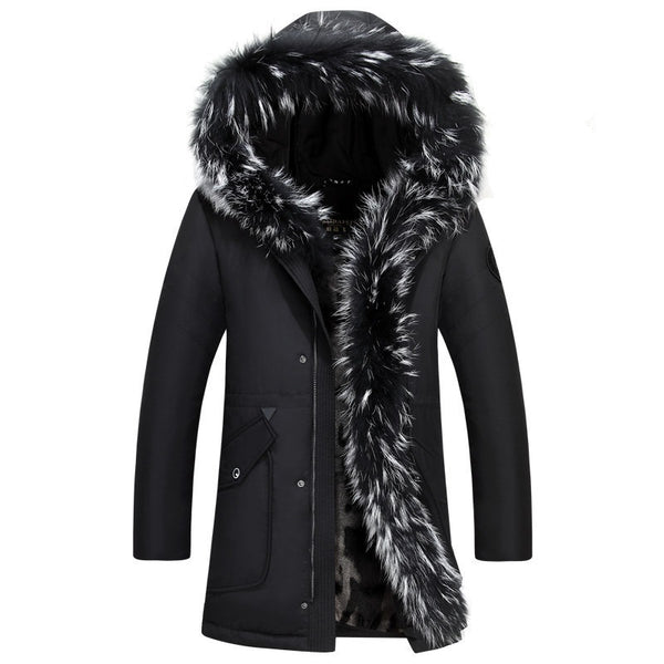 Men's Winter Fur Hooded Down Jacket
