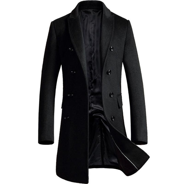 Men's Double-Breasted Wool Trench Coat, Created for CKESE
