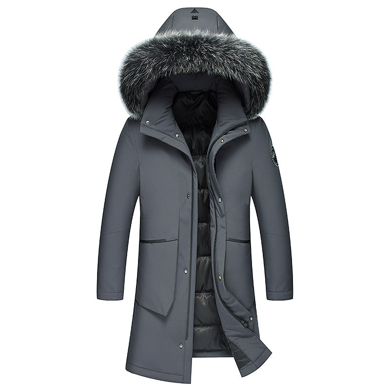 Men's Long Down Jacket With Fur Hood