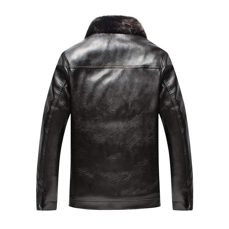 Men's Warm Winter Leather Jacket With Fur Collar