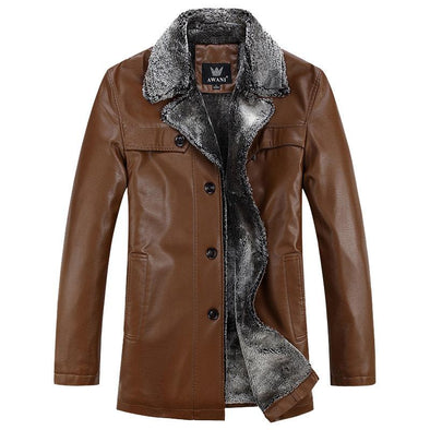 Men's Long Style Leather Jacket With Fur Collar