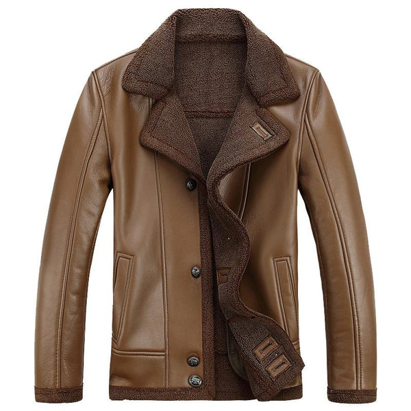 Men's Leather Jacket With Fur Collar #002
