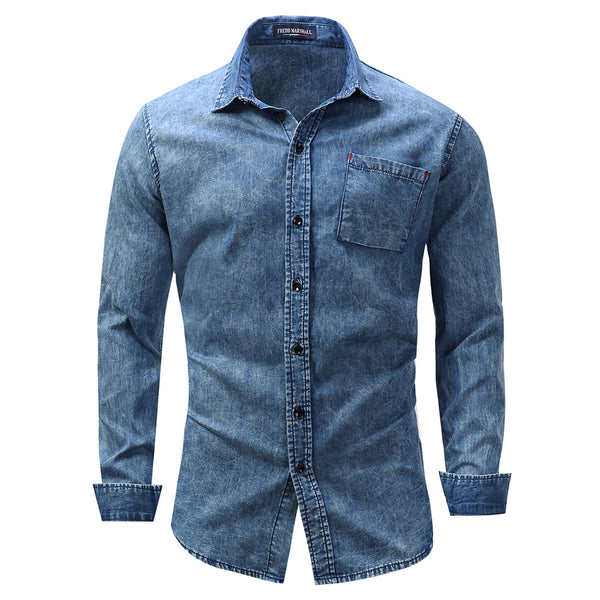 Men's Thin 100% Cotton Retro Denim Shirt
