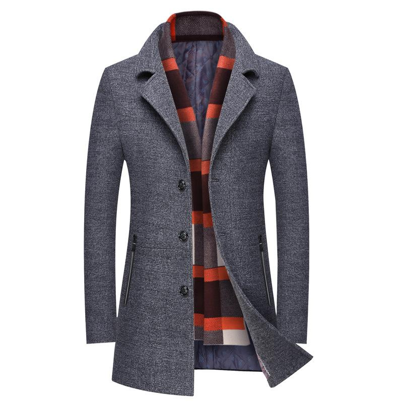Classic Slim Wool Coat With Scarf #002
