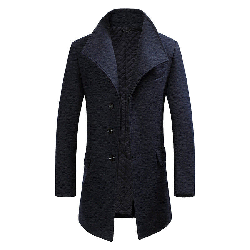 Men's Turn-Down Collar Wool Pea Coat