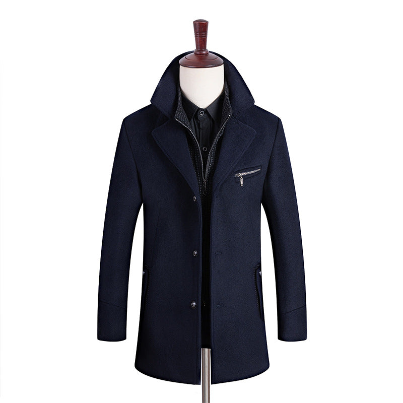 MEN'S GENTLE LAYERED COLLAR WOOL COAT #002