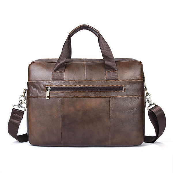 Leather Briefcase Slim Laptop Business Vintage Messenger Bags for Men