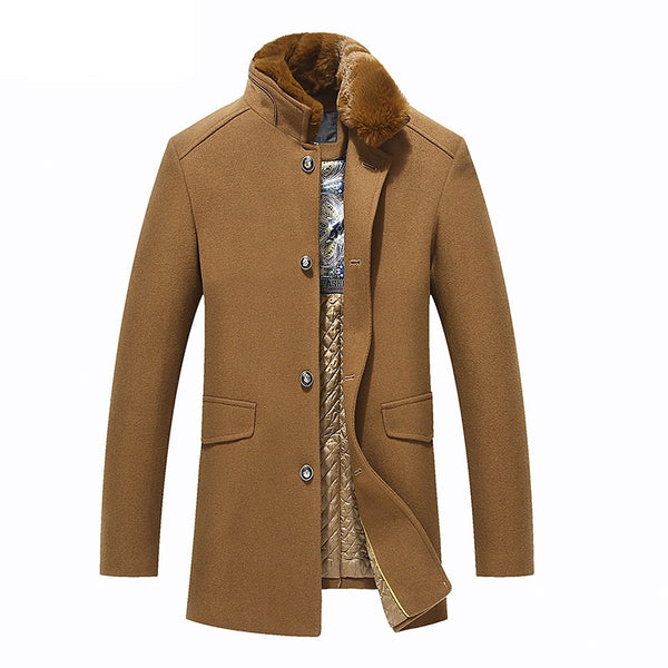 Detachable Fur Collar Men's Premium Wool Coat