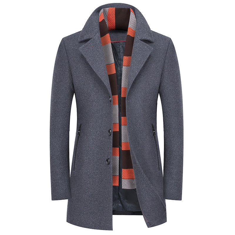 Winter Classic Business Wool Coat With Scarf
