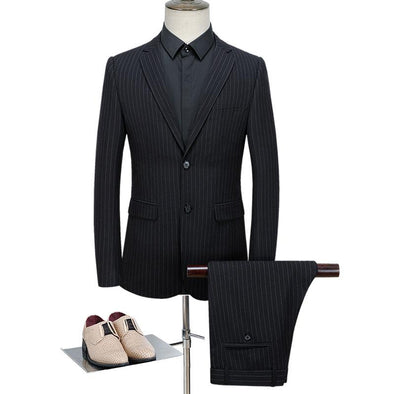 CKESE™ Men's Wool Luxury Stripe Suits (Jacket+Pants+Vest)