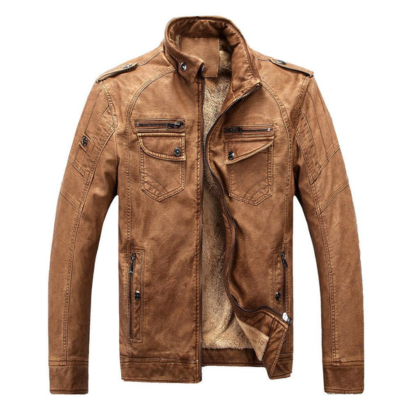 Men's Classic Warm Leather Jacket With Flannel#1688