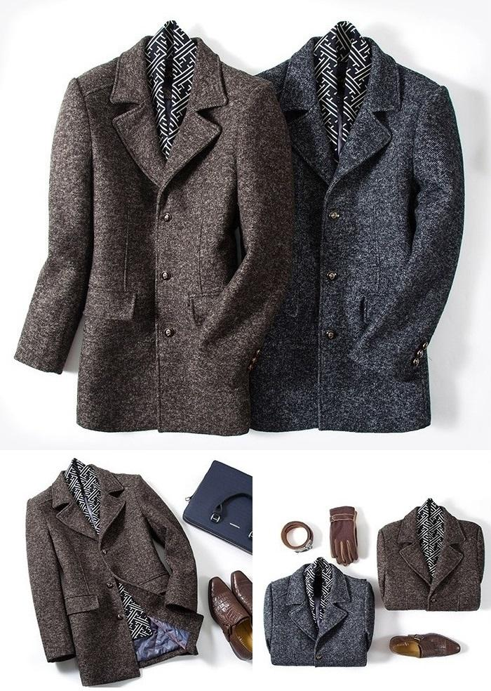 Gentlemen Scarf Premium Wool Coat #001