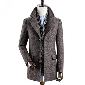 Men's Classic Detachable Scarf Collar Wool Coats, Created For SHEEPMEN