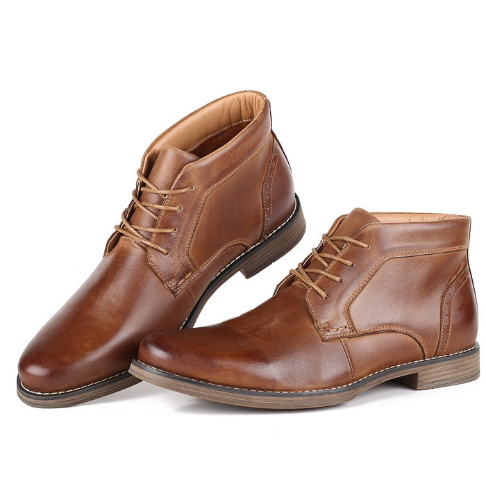 UniteMen Men's Classic Thicken Leather Chukka Boots