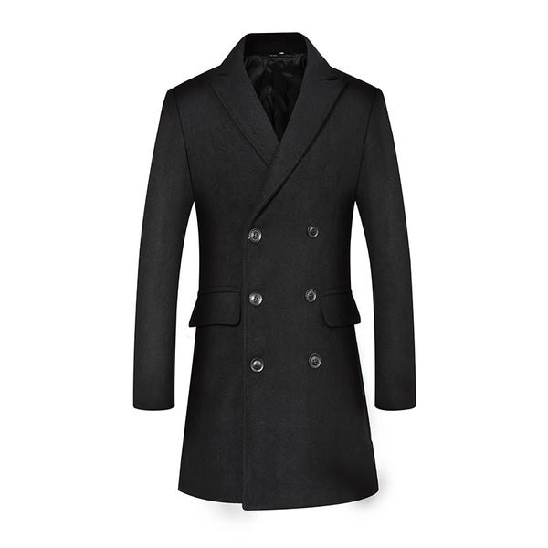 Men's Classic Double-Breasted Long Wool Coat