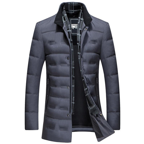 Men's Winter Thicken Down Puffer Jacket with Scarf