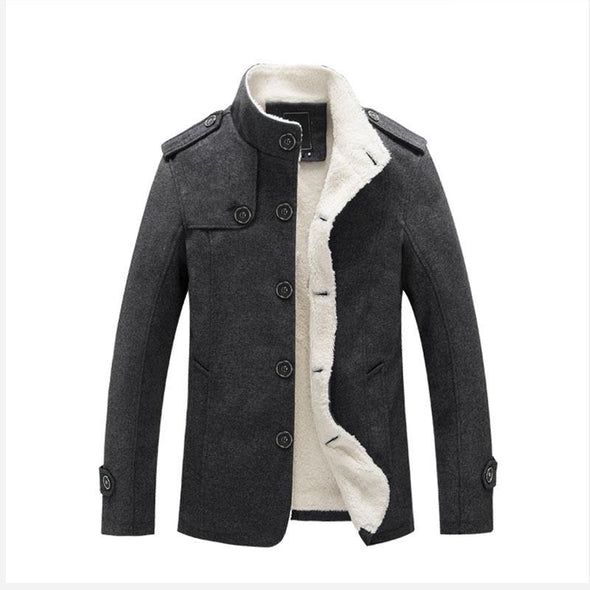 Men's Gentle Fur Collar Single Breasted Cotton Jacket