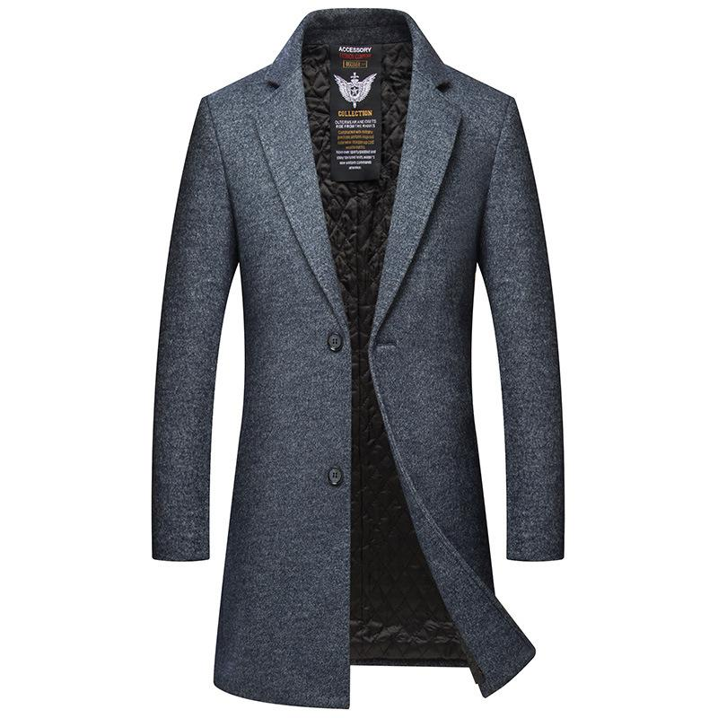 Men's Slim Wool Long Trench Coat