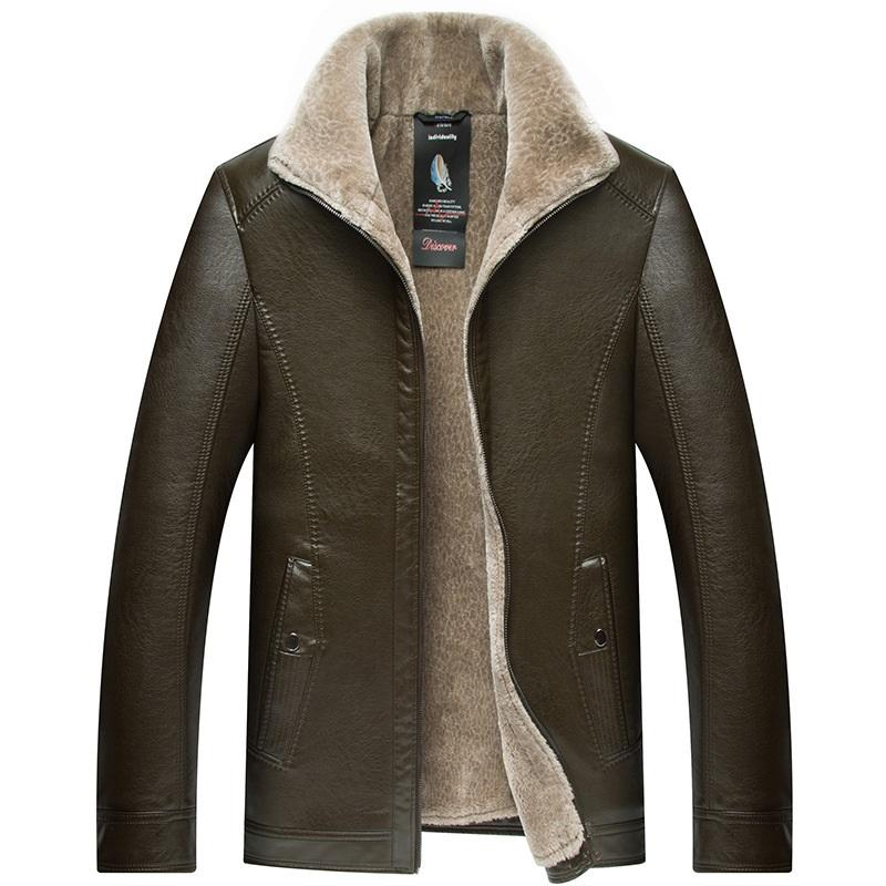 Men's Leather Jacket With Fur Collar