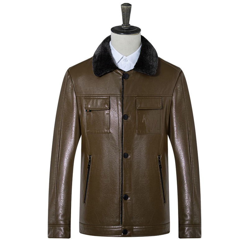 Classic Men's Four Pocket Leather Jacket With Fur Collar