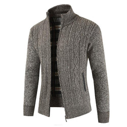 Men's Casual Full Zip Thick Knitted Sweater