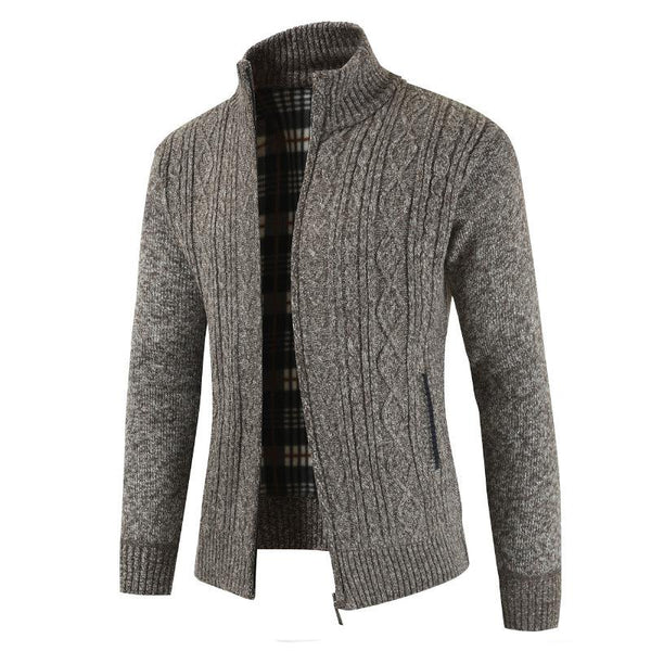 Men's Solid Color Cotton-Blend Sweater