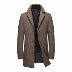 Classic Fitted Wool Coat With Detachable Scarf