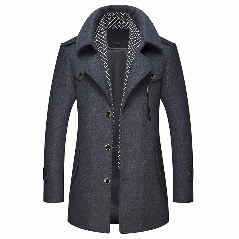 Men's Classic Slim Fit Wool Coat With Scarf