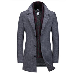 Men's Classic Fitted Wool-Blend Coat With Detachable Scarf