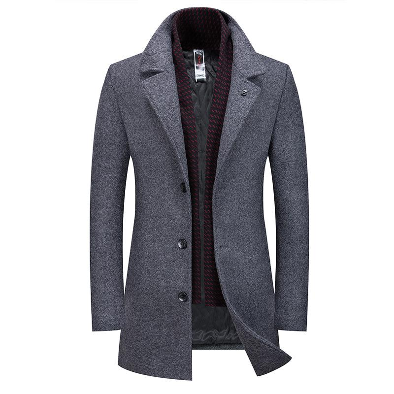 Classic Slim Wool Pea Coat With Scarf
